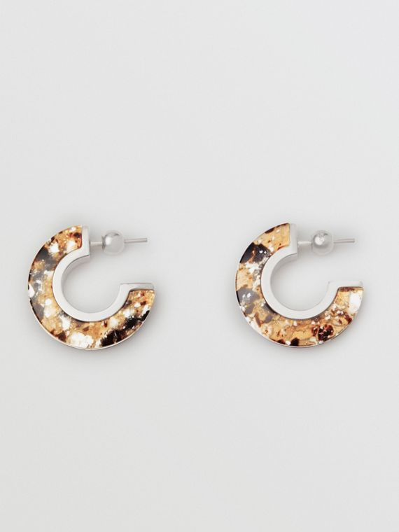 Marbled Resin Palladium-plated Hoop Earrings in Palladio/caramel
