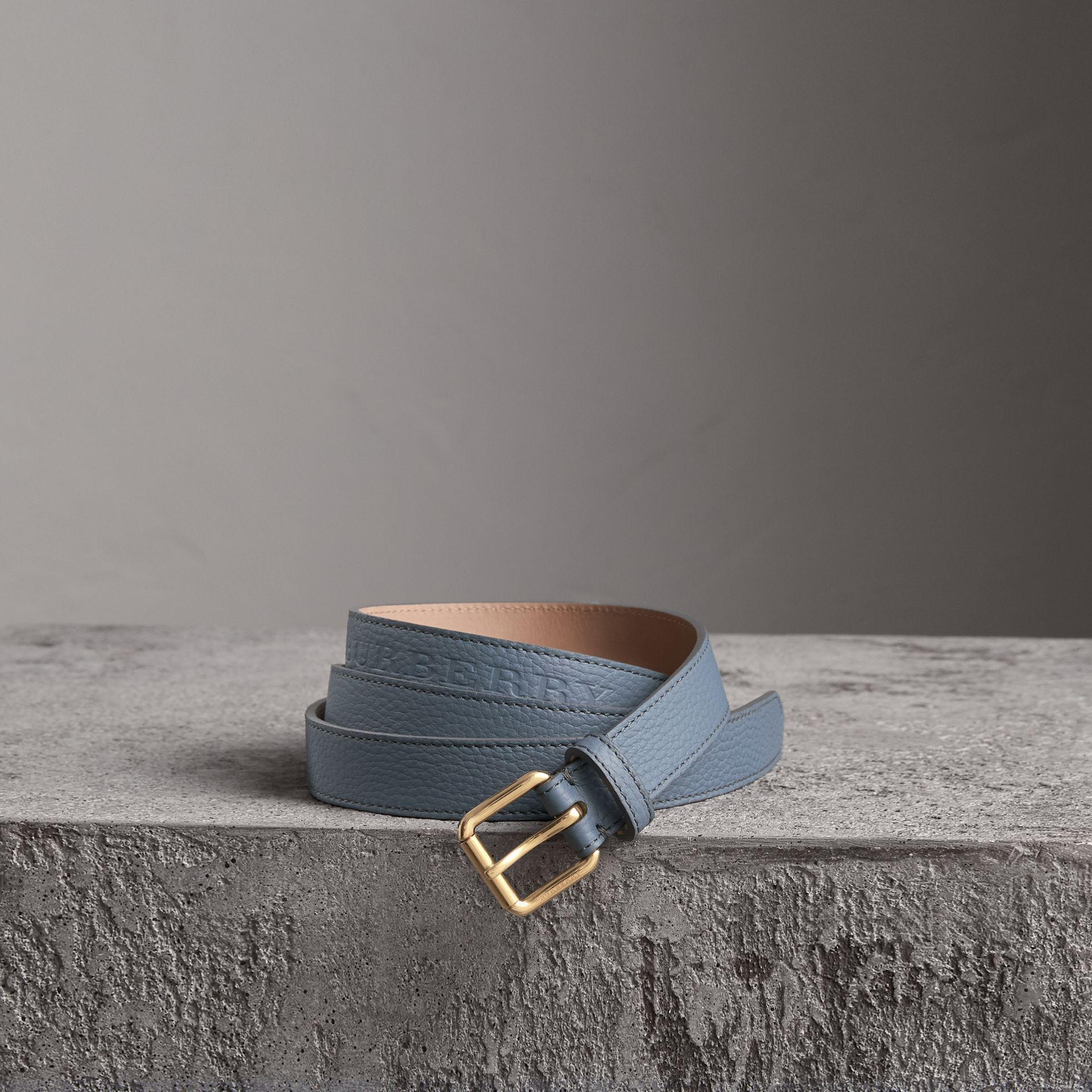Embossed Leather Belt in Dusty Teal Blue - Women | Burberry - gallery image 0