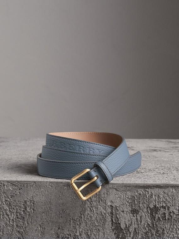 Cintura in pelle goffrata (Blu Alzavola Polvere)