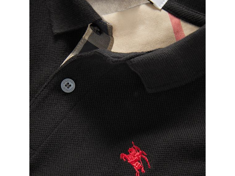 Check Placket Polo Shirt in Black - Boy | Burberry - cell image 1