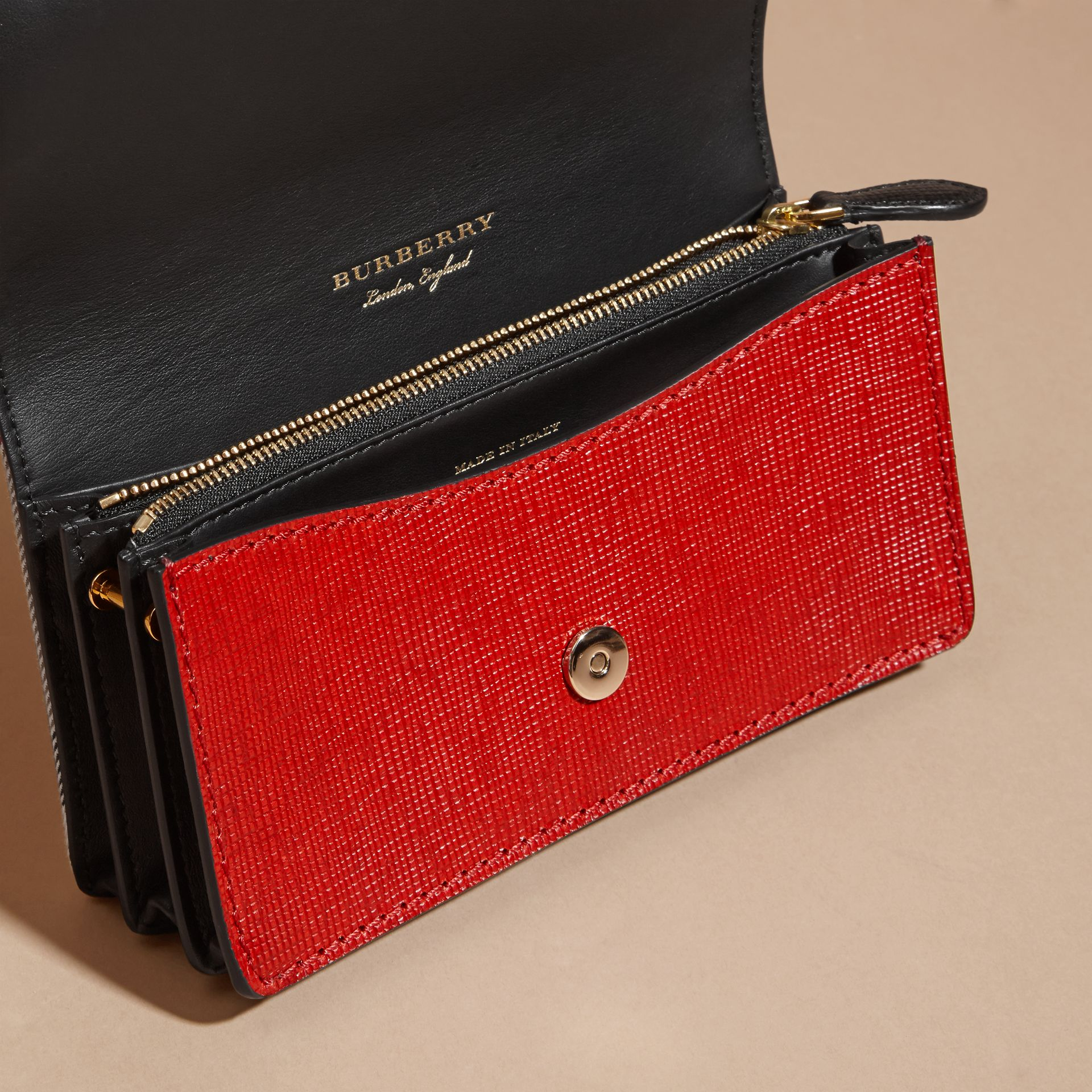 The Small Buckle Bag in House Check and Leather in Military Red/military Red - Women | Burberry United States - gallery image 5