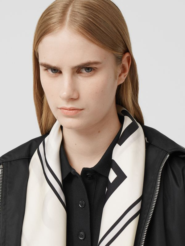 Logo Print Silk Square Scarf in Vanilla | Burberry - cell image 2