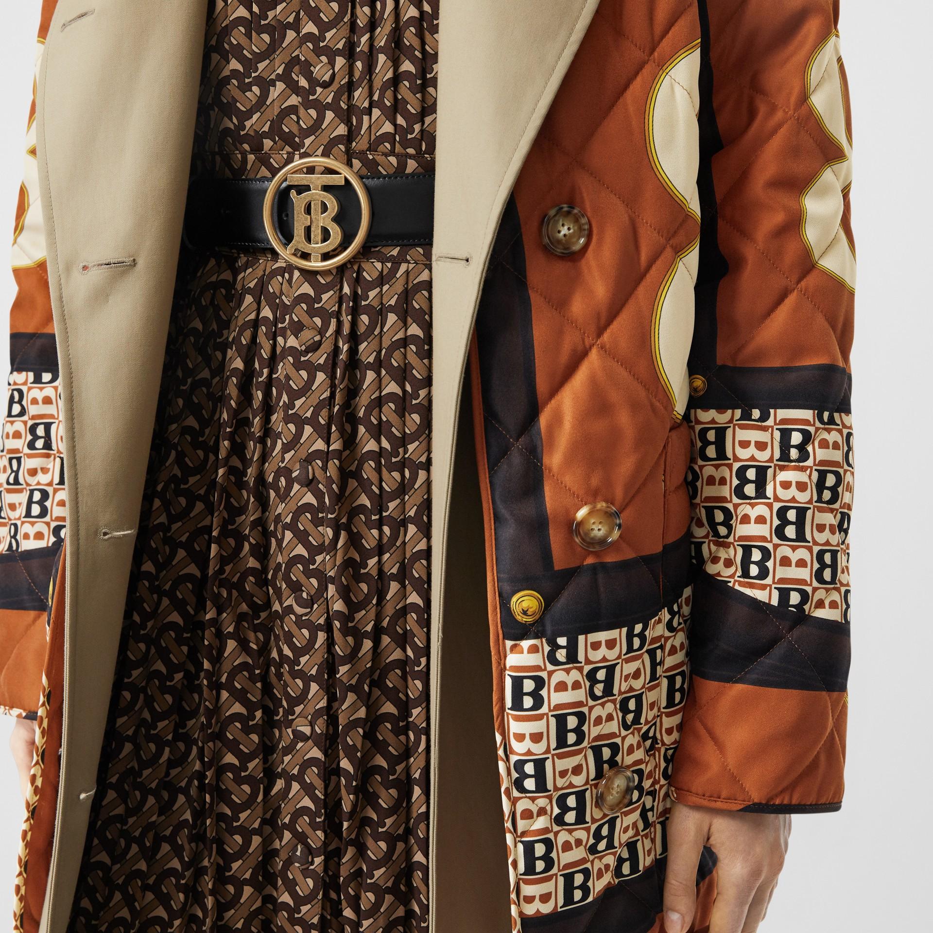 Monogram Motif Leather Belt in Black - Women | Burberry - gallery image 2
