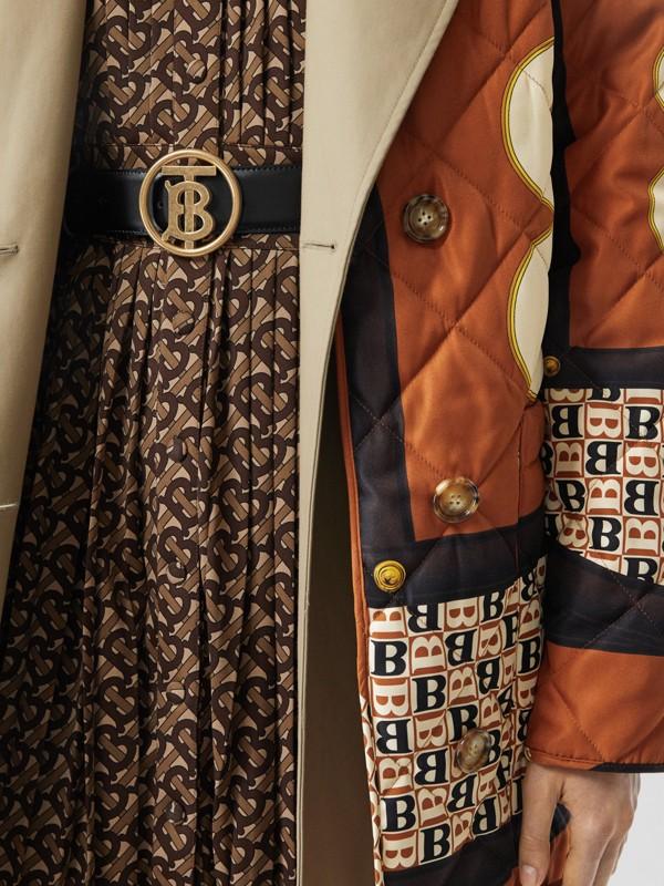 Monogram Motif Leather Belt in Black - Women | Burberry - cell image 2