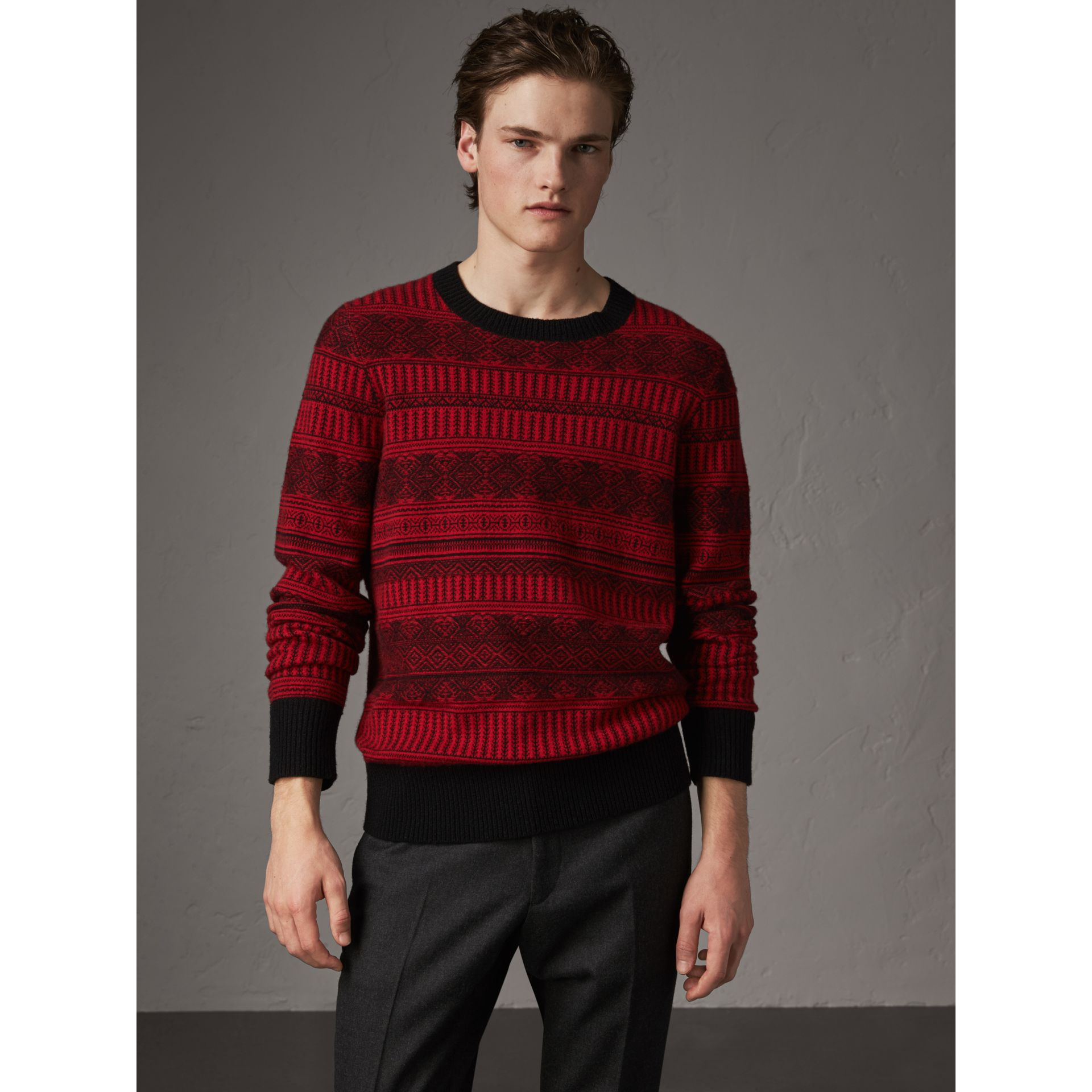 Fair Isle Wool Cashmere Sweater in Military Red - Men | Burberry Australia - gallery image 0