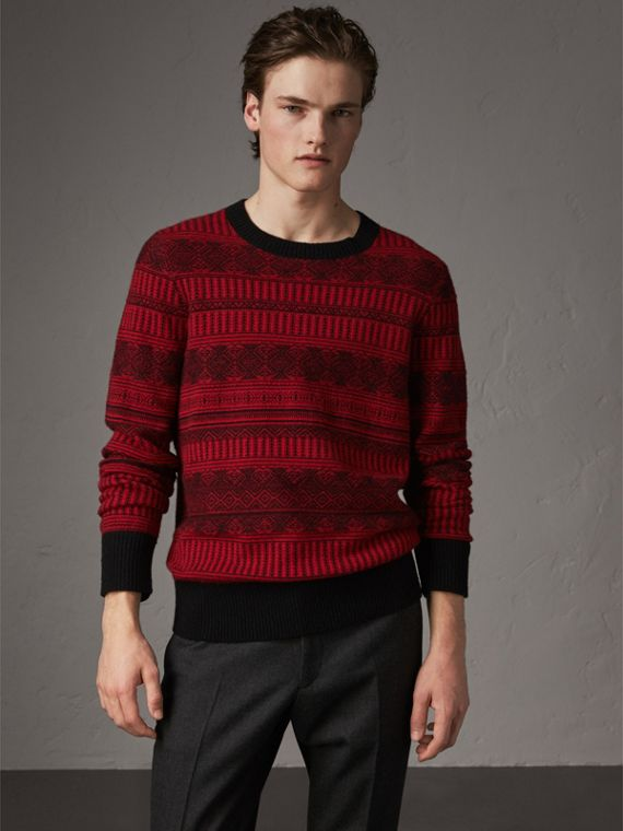 Fair Isle Wool Cashmere Sweater in Military Red