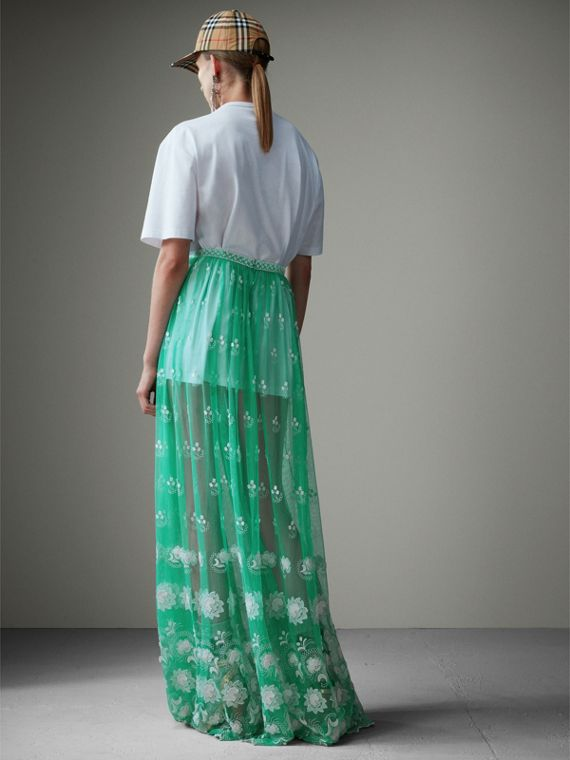 Floor-length Embroidered Tulle Skirt in Aqua Green/white - Women | Burberry - cell image 2