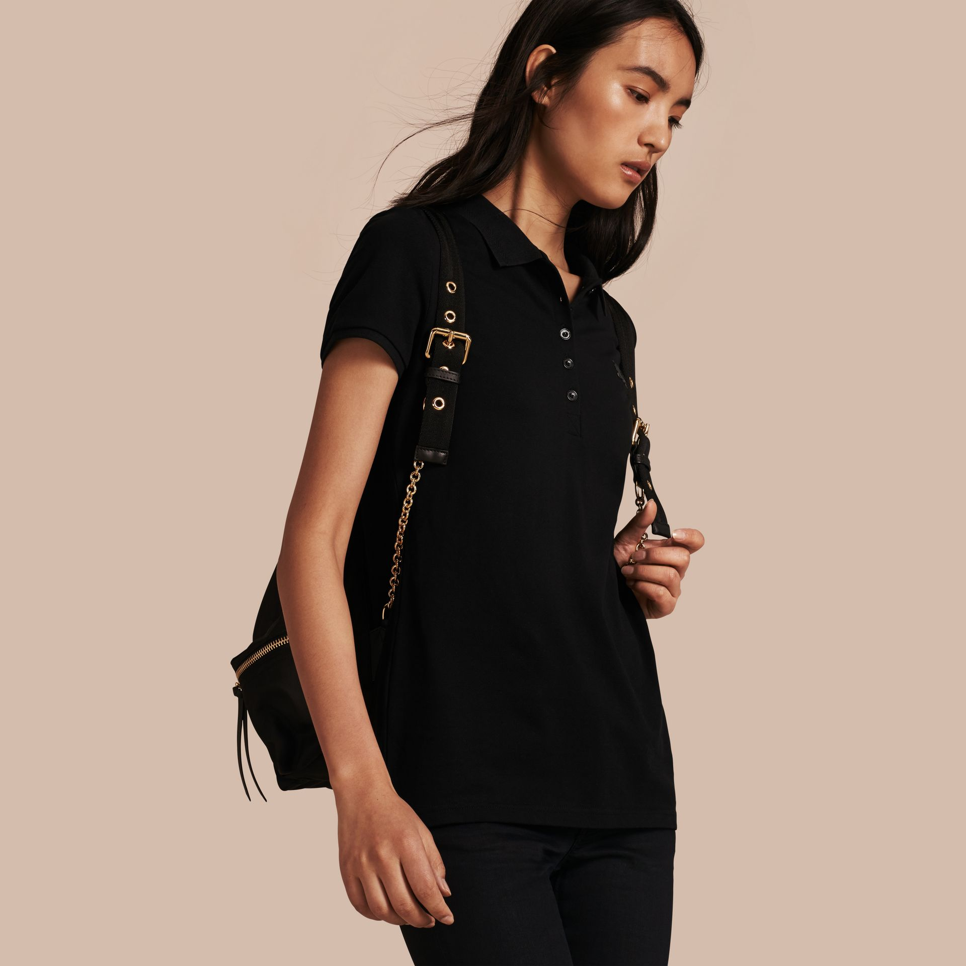 Cotton Piqué Polo Shirt in Black - gallery image 1