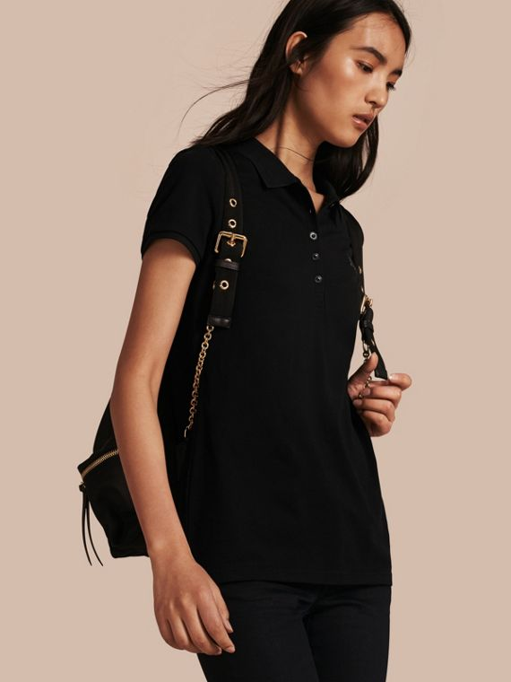 Cotton Piqué Polo Shirt Black