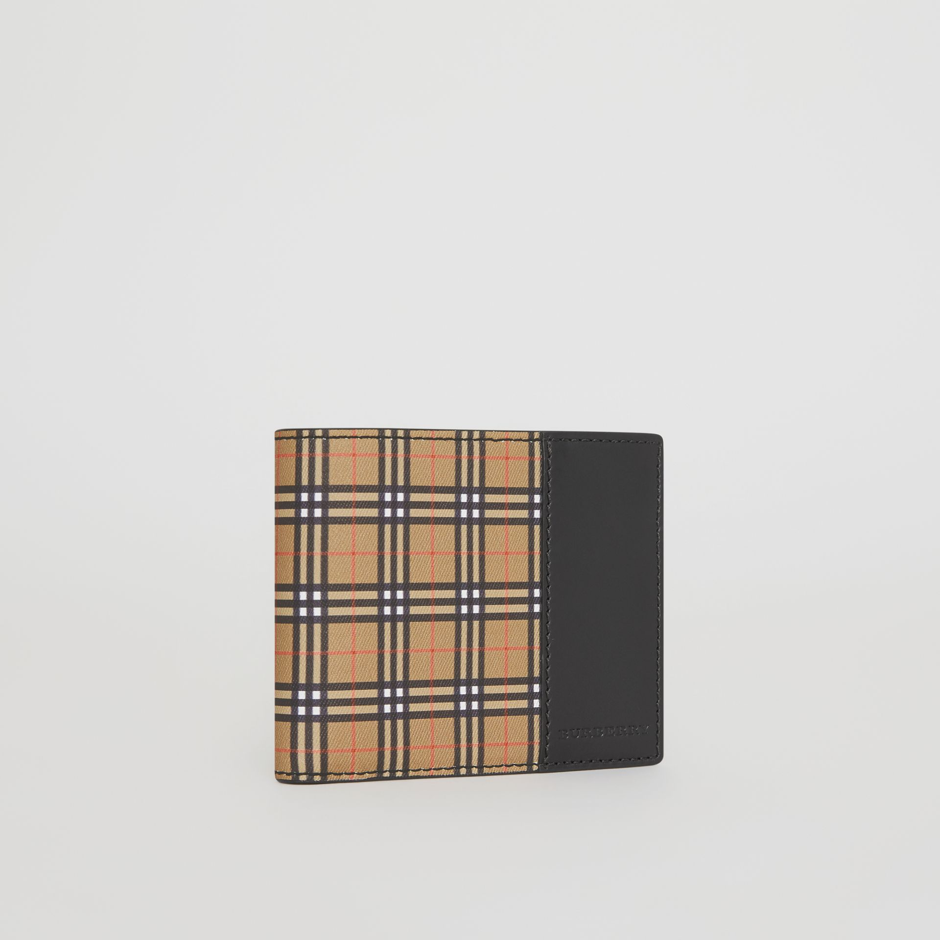Small Scale Check and Leather ID Wallet in Antique Yellow/black - Men | Burberry - gallery image 3