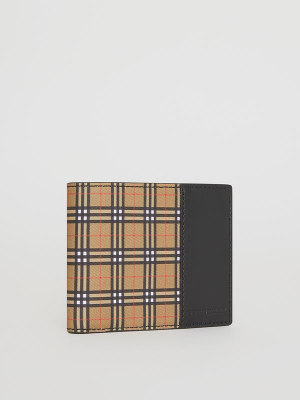 Small Scale Check and Leather ID Wallet in Antique Yellow/black - Men | Burberry Singapore - cell image 3
