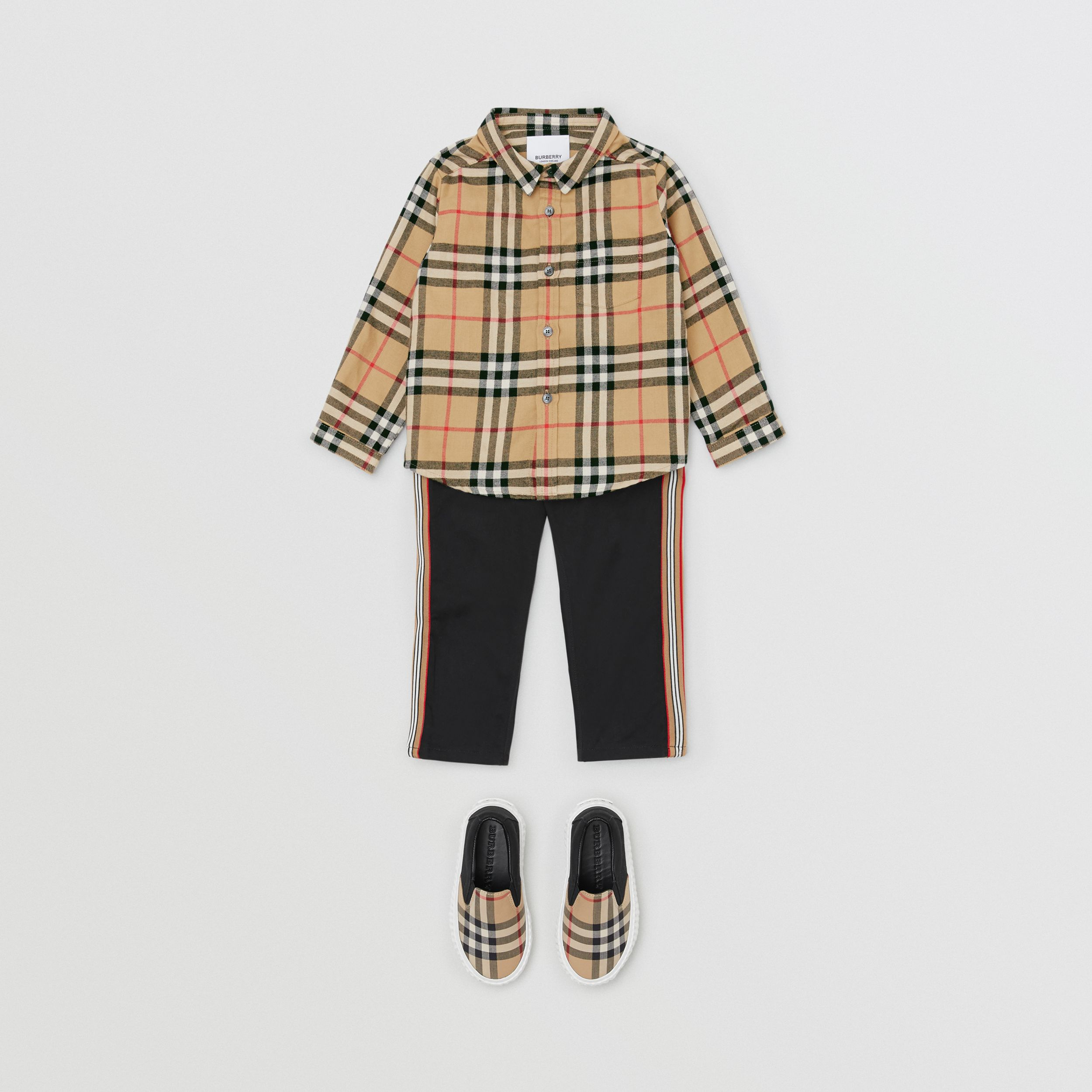 Vintage Check Cotton Flannel Shirt in Archive Beige - Children | Burberry - 3