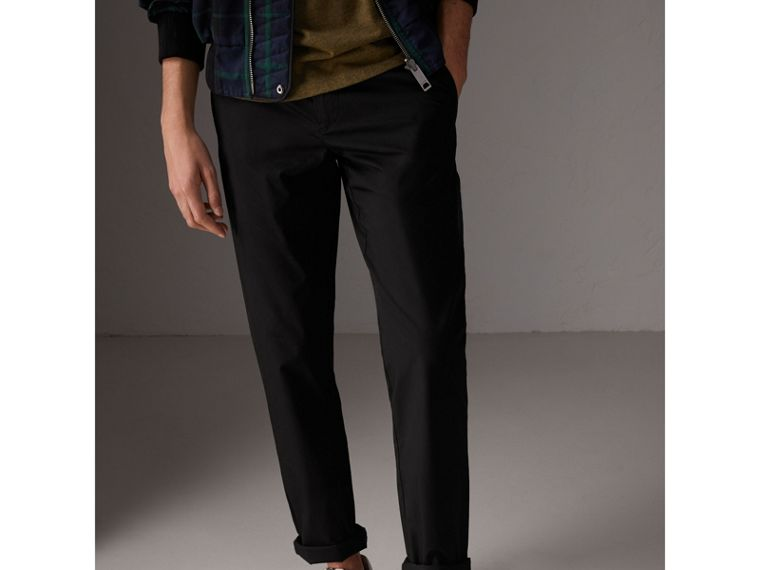Slim Fit Cotton Chinos in Black - Men | Burberry - cell image 4