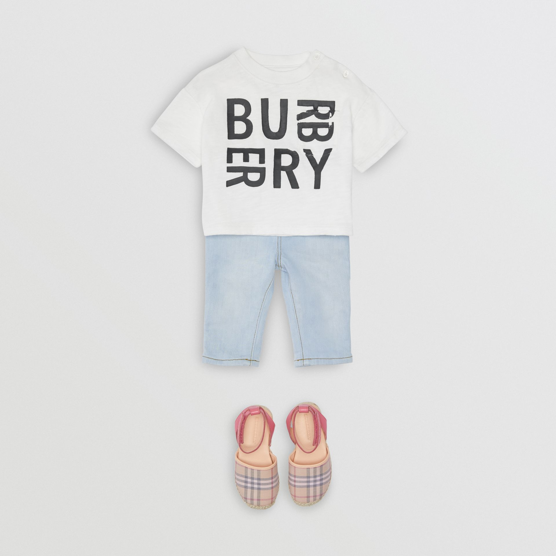 Relaxed Fit Pull-on Stretch Denim Jeans in Light Blue - Children | Burberry United Kingdom - gallery image 2