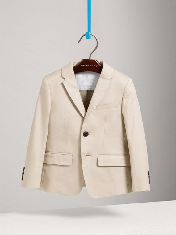 Tailored Stretch Cotton Blazer in Stone