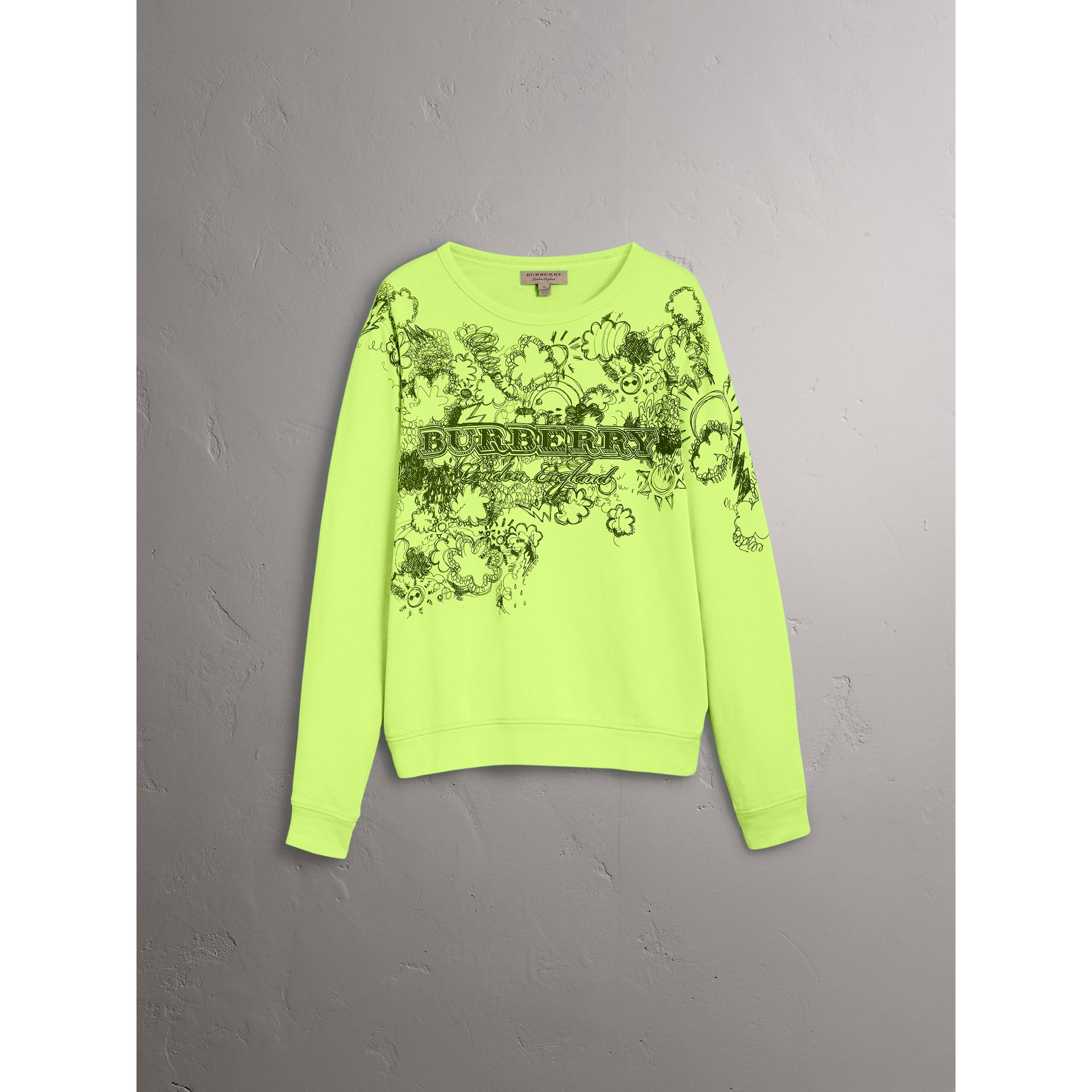 Sweat-shirt en coton avec imprimé Doodle (Citron Vif) - Homme | Burberry - photo de la galerie 3