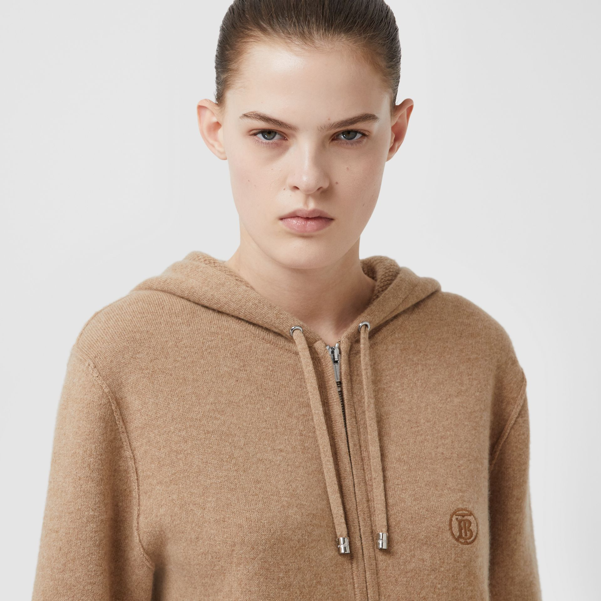Monogram Motif Cashmere Blend Hooded Top in Pale Coffee - Women | Burberry United Kingdom - gallery image 0