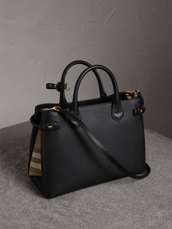 The Medium Banner in Leather and House Check in Black - Women | Burberry United States - cell image 3
