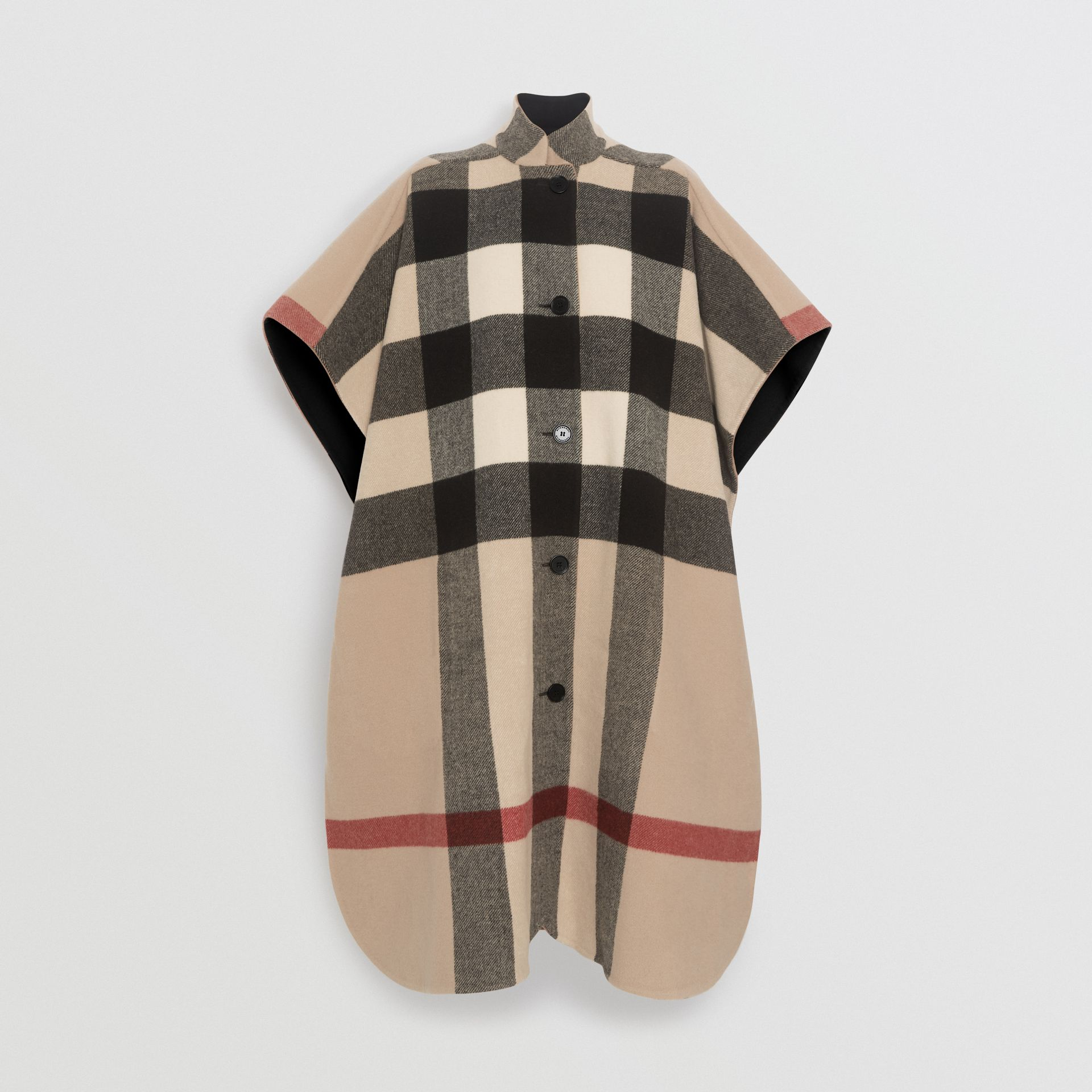 Reversible Check Oversized Poncho in Black - Women | Burberry - gallery image 5