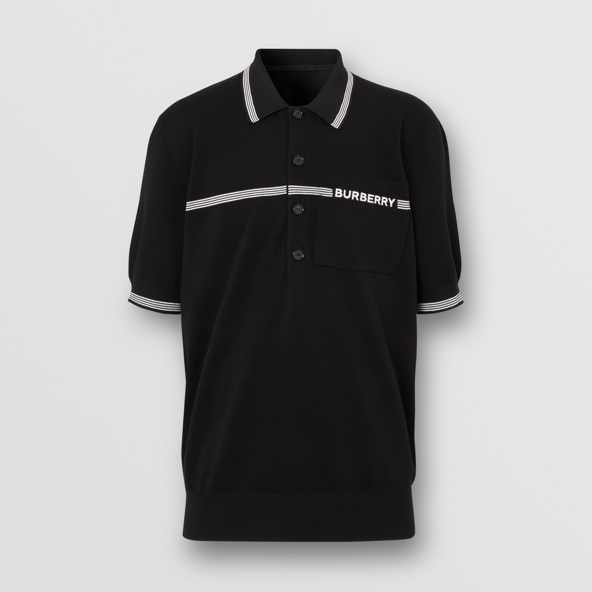 Logo Embroidered Wool Polo Shirt in Black | Burberry - gallery image 3