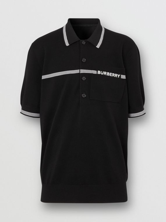 Logo Embroidered Wool Polo Shirt in Black