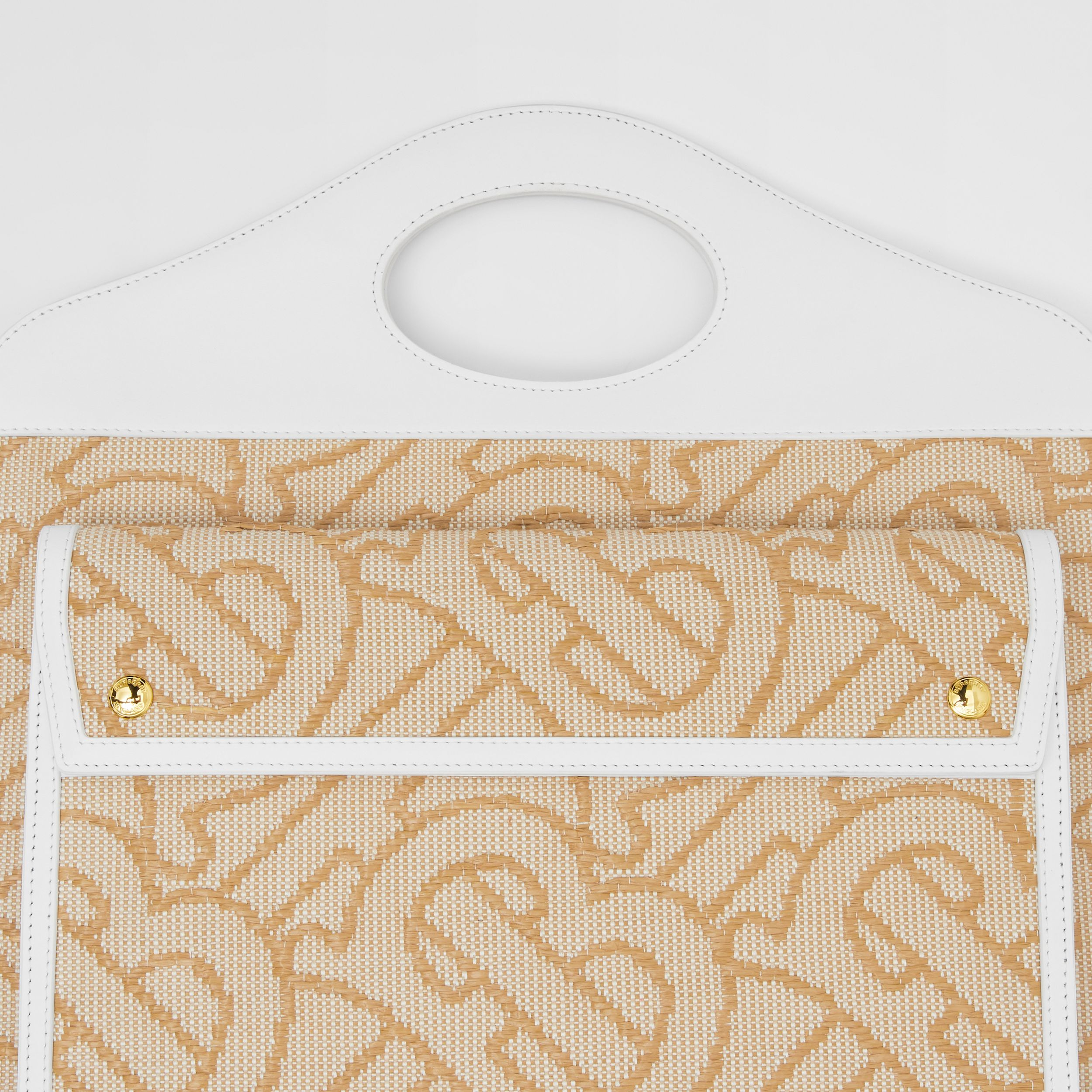 Medium Raffia and Leather Pocket Bag in Natural - Women | Burberry - 2