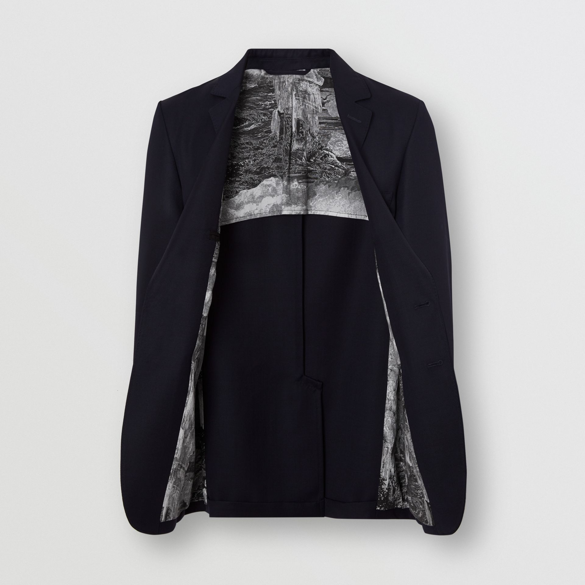 Slim Fit Metal Button Wool Gabardine Blazer in Navy - Men | Burberry Singapore - gallery image 3