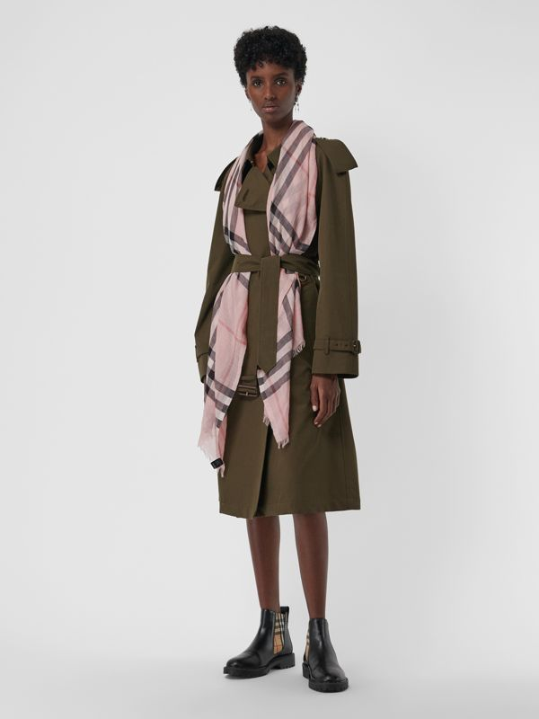 Lightweight Check Wool and Silk Scarf in Ash Rose | Burberry Singapore - cell image 2