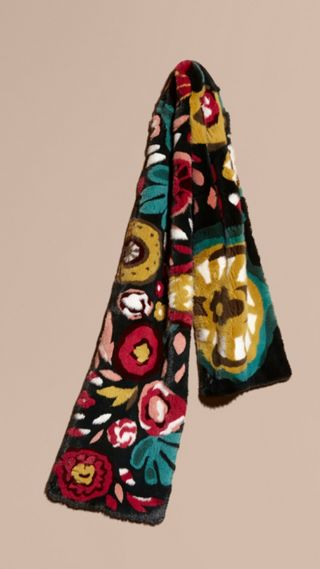 Floral Intarsia Mink Scarf