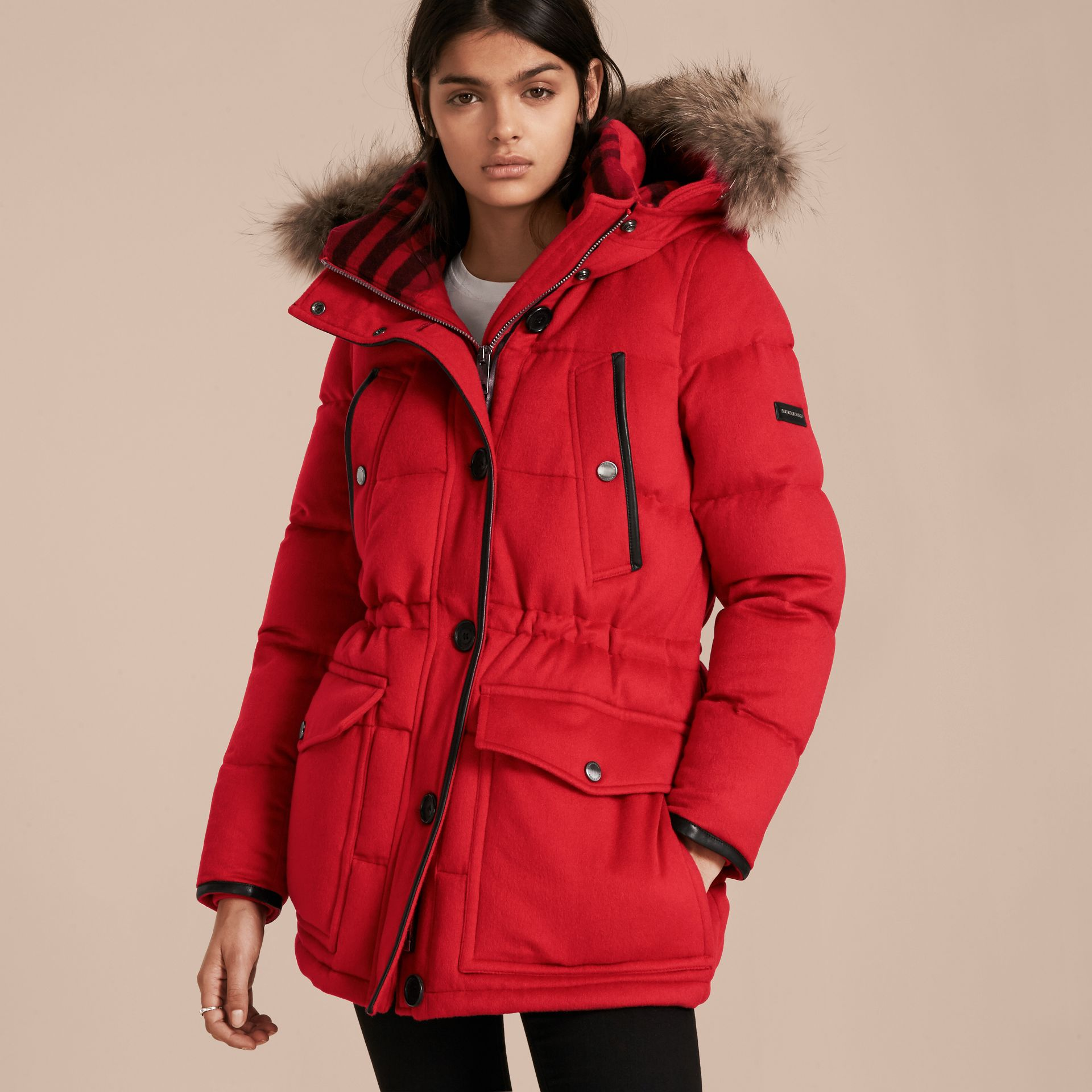 Down-filled Cashmere Coat with Detachable Fur Trim in Parade Red - gallery image 1