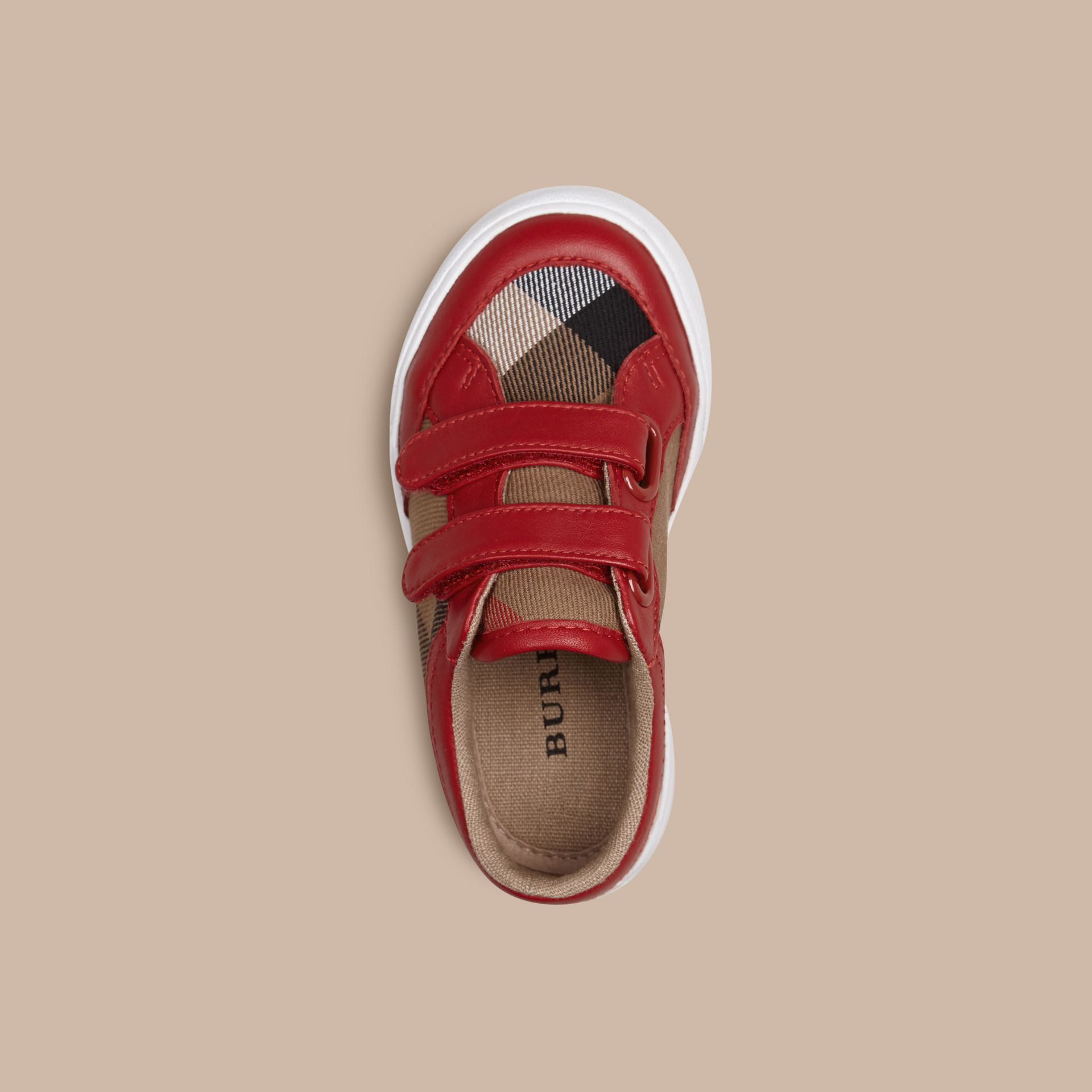 House Check and Leather Trainers in Parade Red | Burberry Singapore - gallery image 2