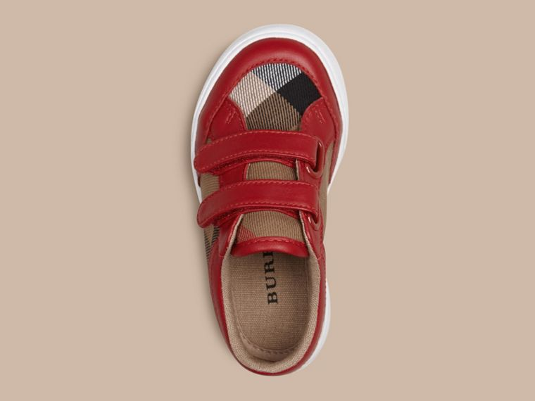 House Check and Leather Trainers in Parade Red - cell image 1