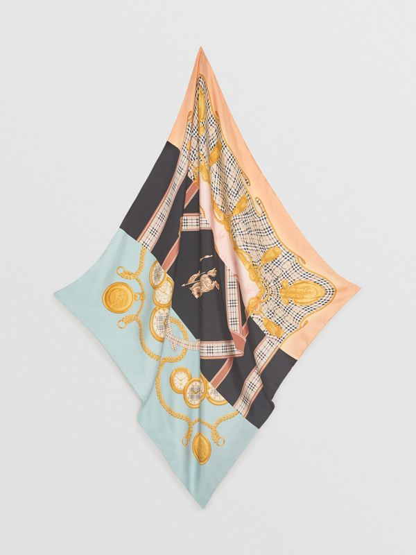 Archive Scarf Print Silk Square Scarf in Multicolour | Burberry - cell image 3