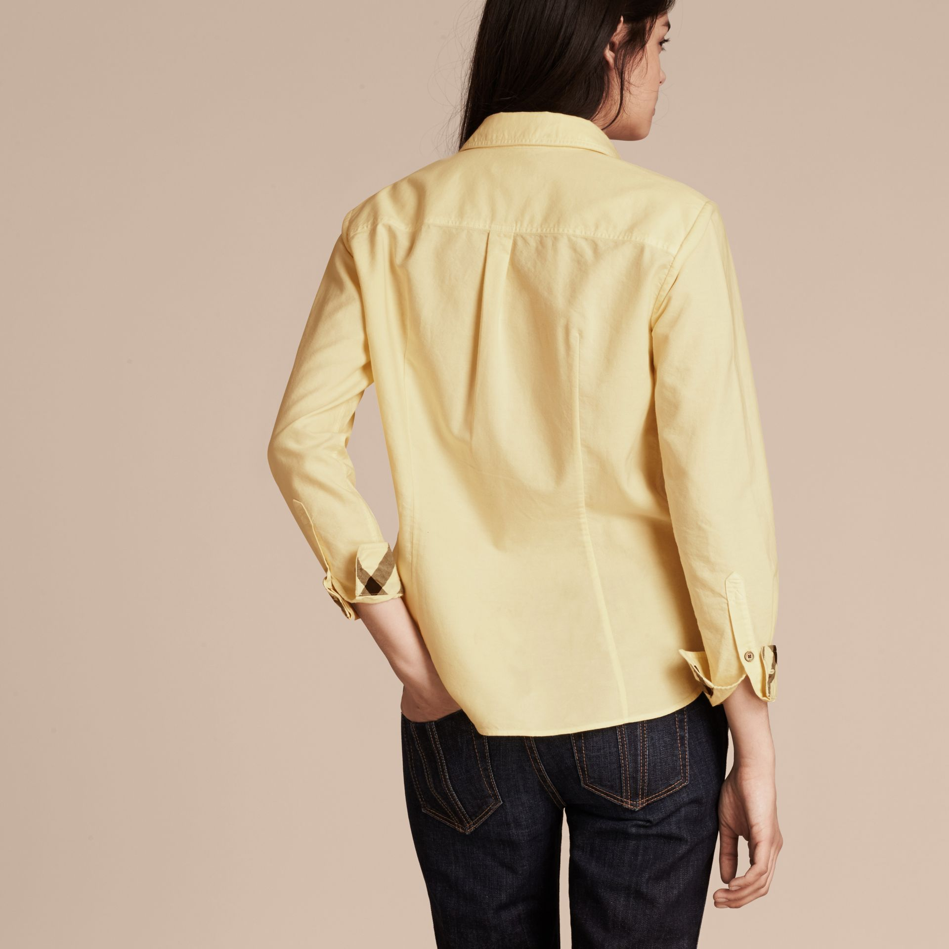 Pale yellow Check Detail Cotton Shirt Pale Yellow - gallery image 2
