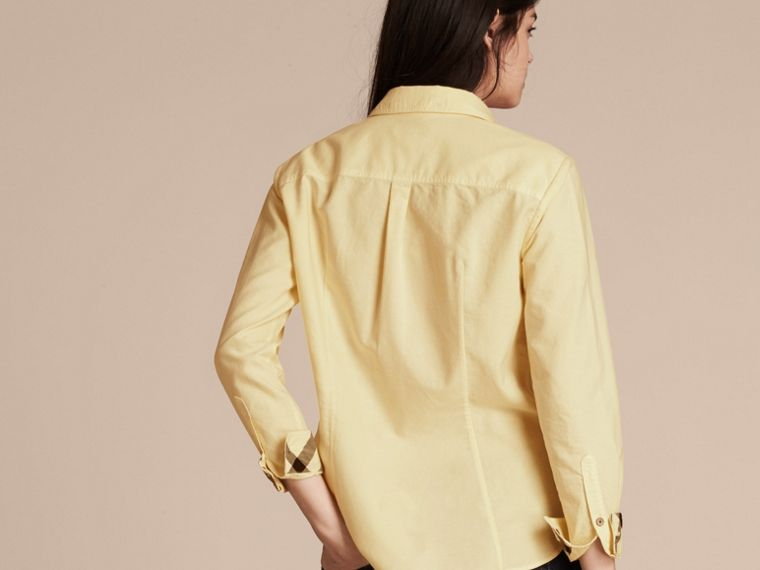 Pale yellow Check Detail Cotton Shirt Pale Yellow - cell image 1