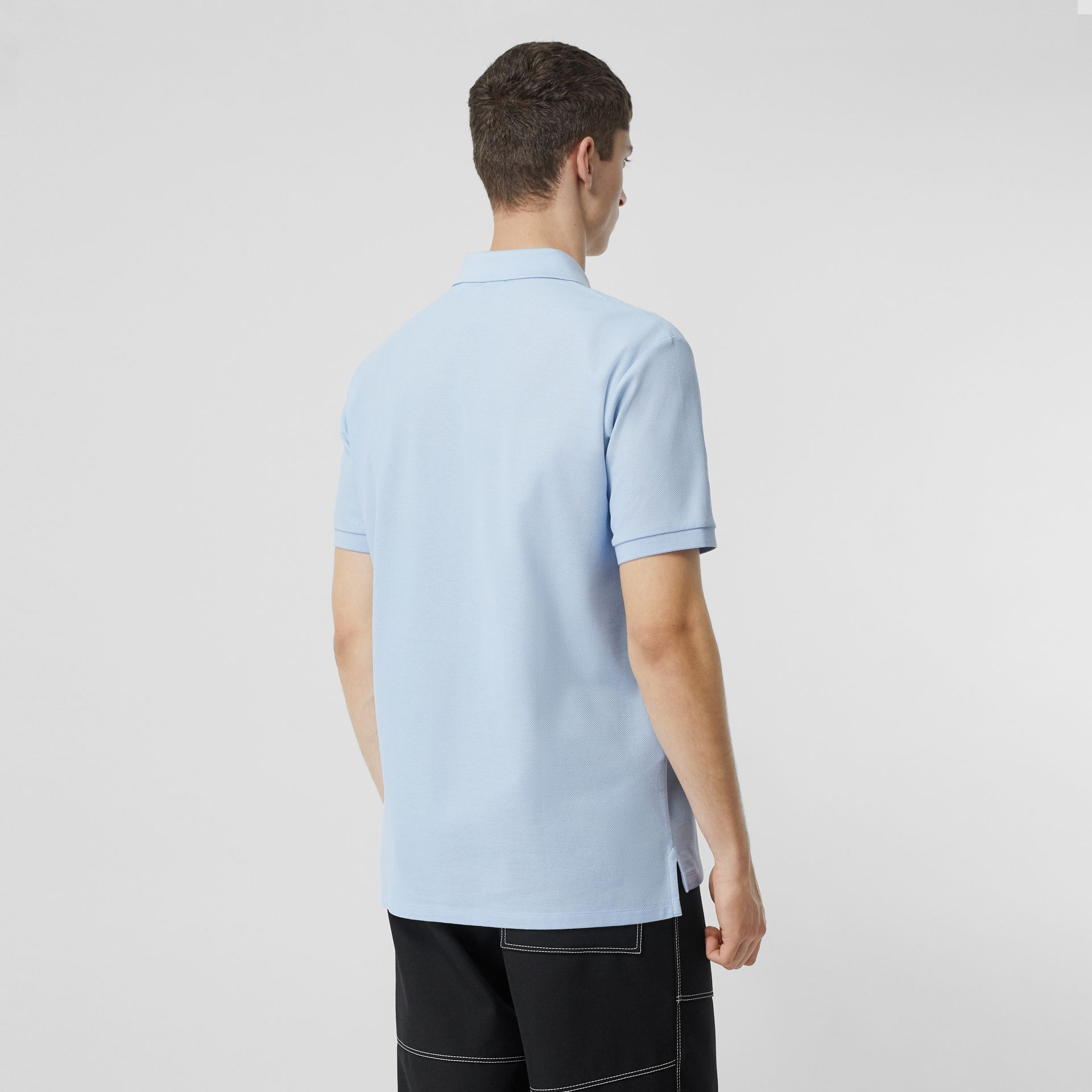 Monogram Motif Cotton Piqué Polo Shirt in Pale Blue - Men | Burberry - gallery image 2