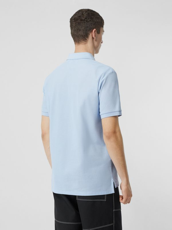 Monogram Motif Cotton Piqué Polo Shirt in Pale Blue - Men | Burberry - cell image 2