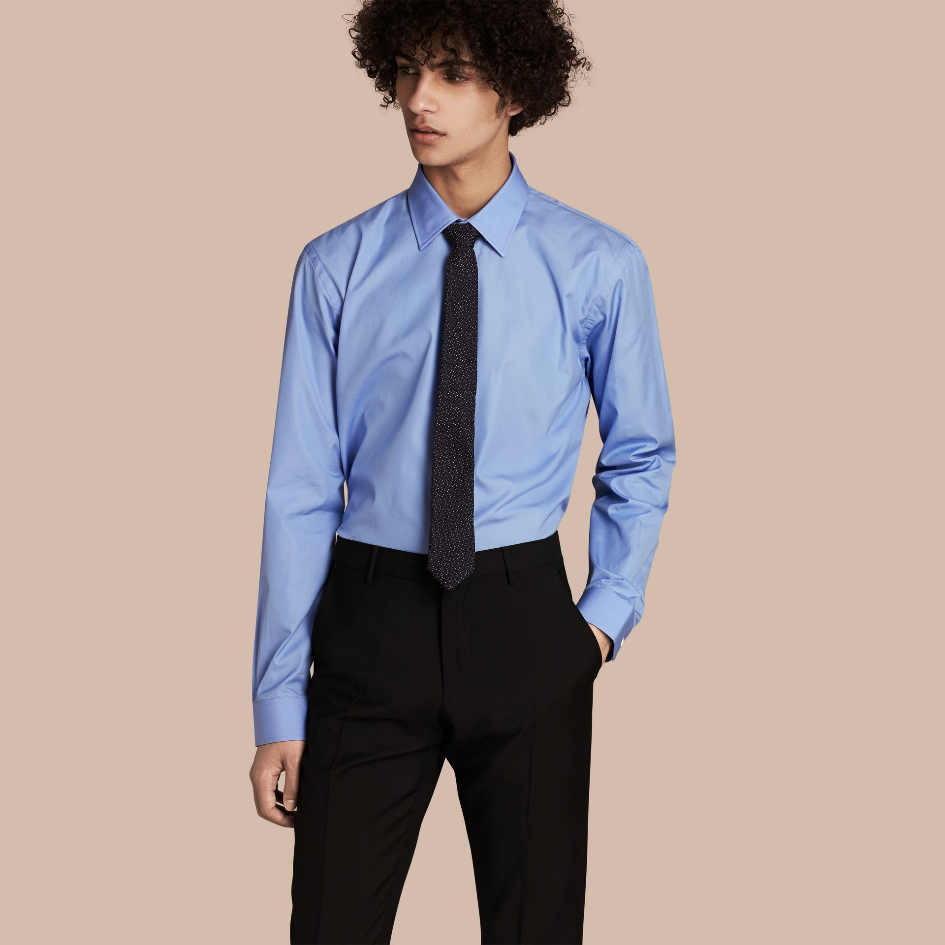 Modern Fit Cotton Poplin Shirt Mid Blue - gallery image 1