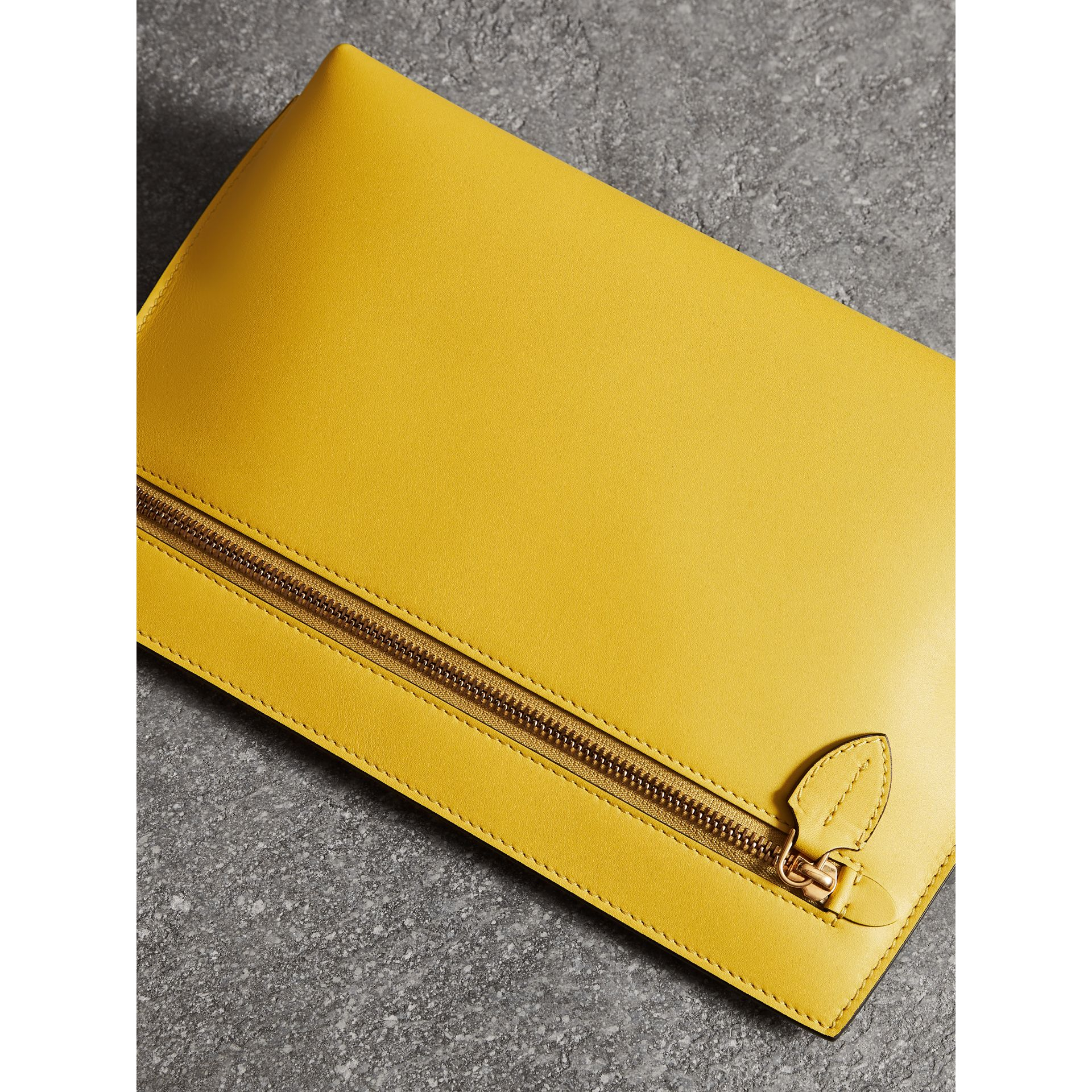Leather Wristlet Clutch in Bright Larch Yellow - Women | Burberry United Kingdom - gallery image 6