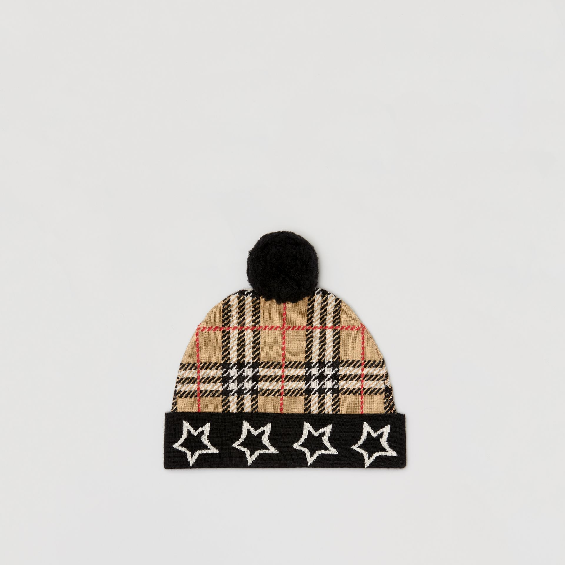 Star Detail Check Merino Wool Jacquard Beanie in Archive Beige - Children | Burberry - gallery image 2