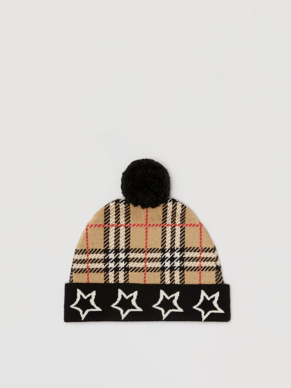 Star Detail Check Merino Wool Jacquard Beanie in Archive Beige - Children | Burberry - cell image 2