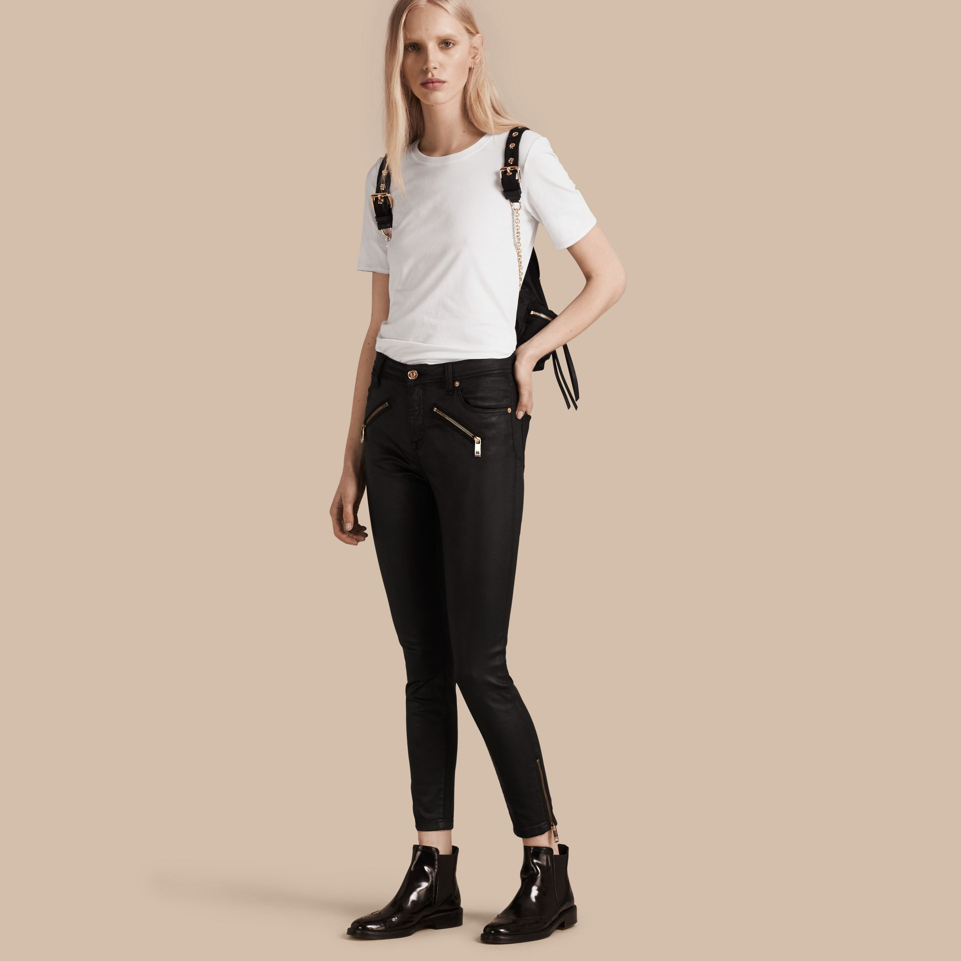 Black Skinny Fit High-rise Coated Stretch Denim Jeans - gallery image 1