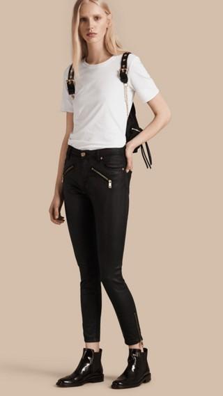 Jean skinny taille haute en denim extensible enduit
