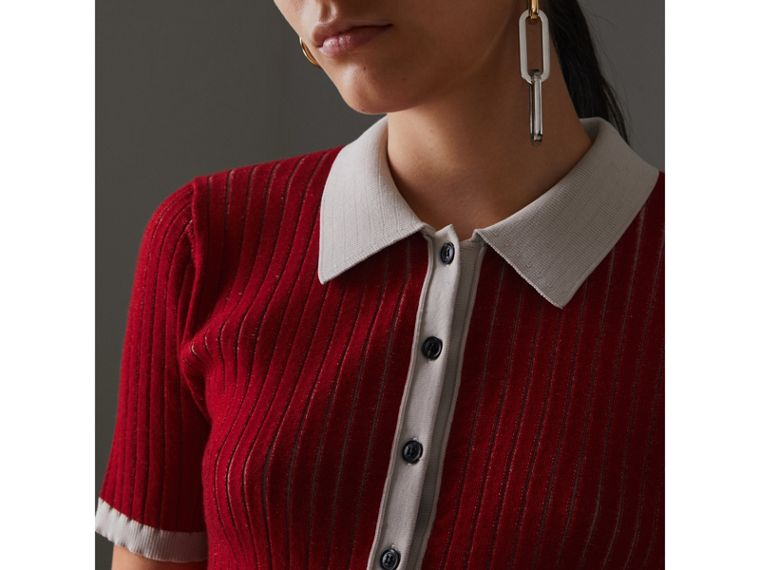 Two-tone Cashmere Silk Polo Shirt in Military Red - Women | Burberry - cell image 1