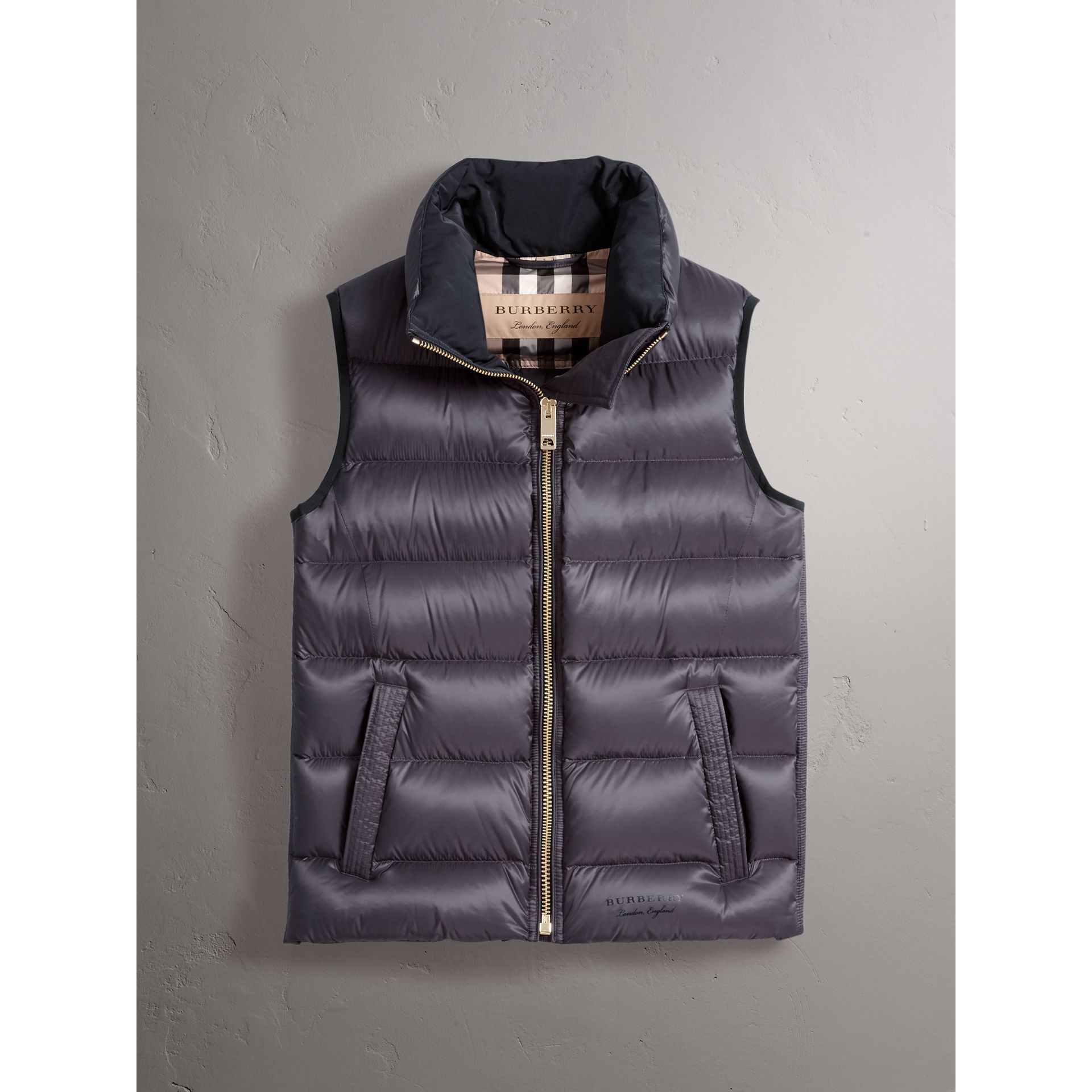 Down-filled Gilet in Blue Black - Women | Burberry - gallery image 4