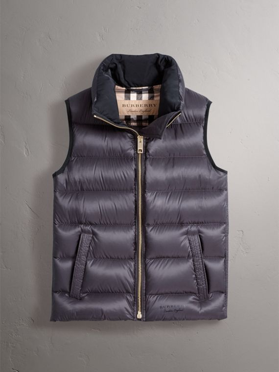 Down-filled Gilet in Blue Black - Women | Burberry - cell image 3