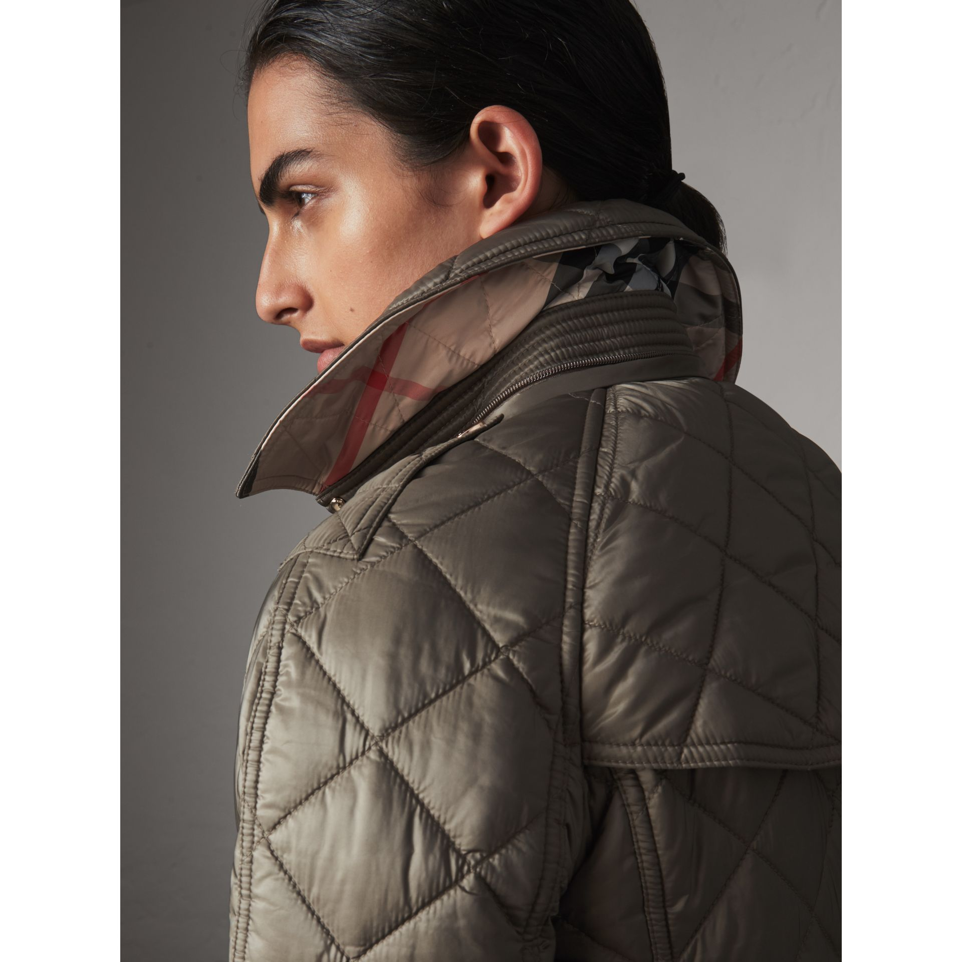 Detachable Hood Quilted Showerproof Parka in Mink Grey - Women | Burberry - gallery image 5