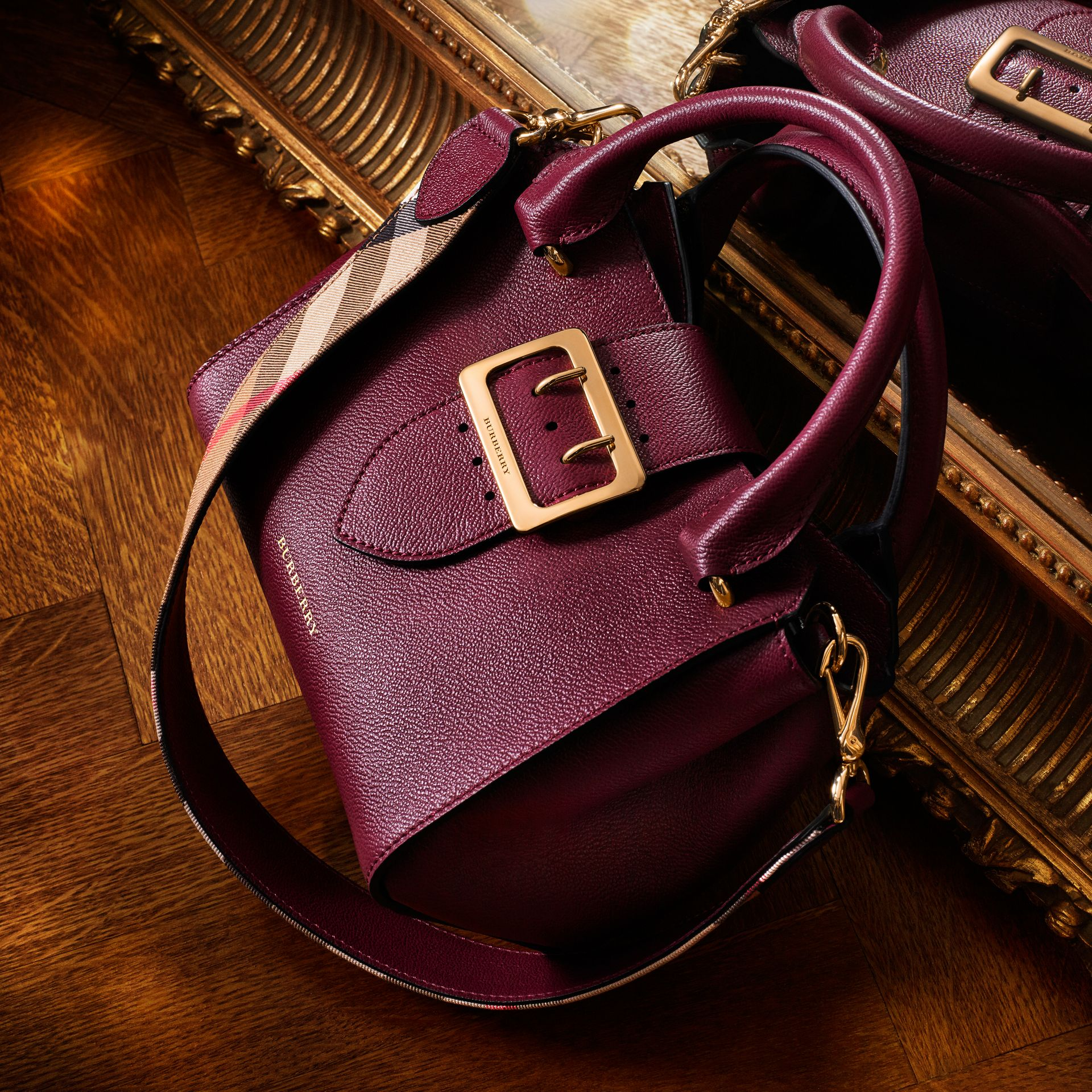 Dark plum The Medium Buckle Tote in Grainy Leather Dark Plum - gallery image 10