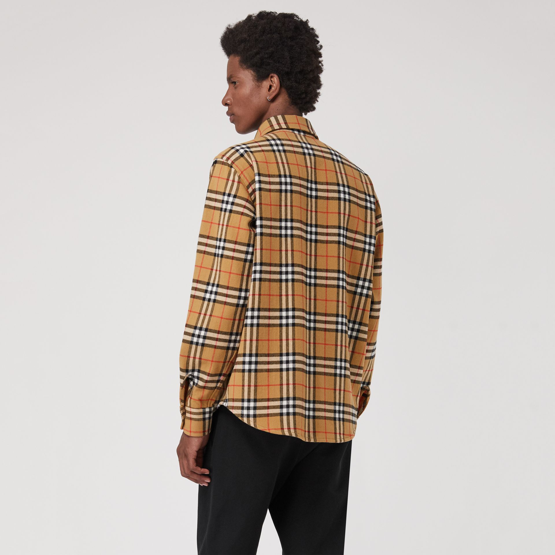 Vintage Check Cotton Flannel Shirt in Antique Yellow - Men | Burberry Australia - gallery image 2