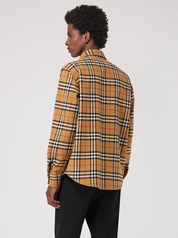 Vintage Check Cotton Flannel Shirt in Antique Yellow - Men | Burberry Australia - cell image 2